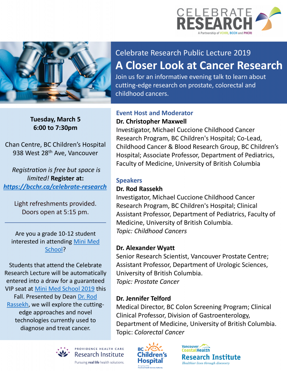 Celebrate Research A Closer Look At Cancer Research Providence Health Care Research Institute